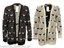 Ladies Womens Sparkly Lurex Hear Print Knitted Crochet Open Cardigan One Size