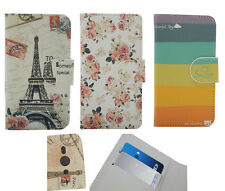 For HTC Alcatel Cover Case Flower /Rainbow / Eiffel Tower PU Leather Card Holder
