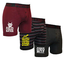 Mens 3 Pack Pierre Klein OMGWTF-PERMIT GUNS-FUELED BY SATAN Jersey Boxer Shorts