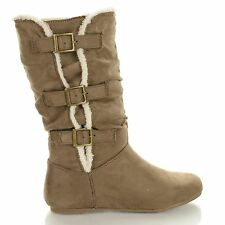 Kalisa91 Winter Eskimo Faux Fur Slouchy Boots on Mid Calf, New Women Shoes