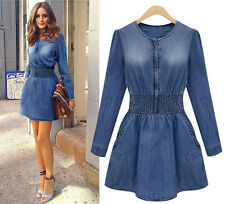 2014 Hot New Vintage Women Long Sleeved Slim Casual Denim Jeans Party Mini Dress