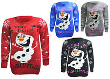 Women's Ladies Novelty Olaf Frozen Christmas DO YOU WANNA BUILD A SNOWMAN Jumper