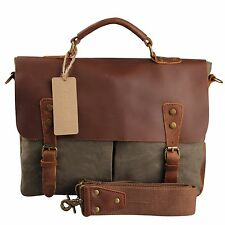 Vintage Leather Mens Messenger Bags Canvas 14 In Laptop Briefcase Shoulder Bags