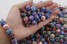 30PCS Mixed Color Polymer Clay Crystal Flower Round Loose Charms Beads ,12mm