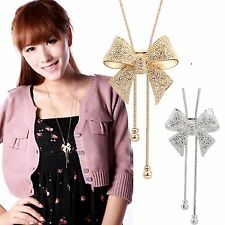 Nice Crystal Bowknot Pendants Long Necklace Rhinestone Butterfly Sweater Chains