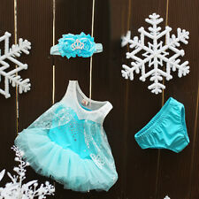 Baby Girl Party Frozen Elsa Cosplay Top Dress Pantie Headband 3Pcs Outfits 3-24M