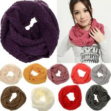 Nice Women's Winter Warm Infinity 2 Circle Cable Knit Cowl Neck Long Scarf Shawl