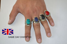 Handmade Carved  silver plated  rings with stones [Amulet rings]