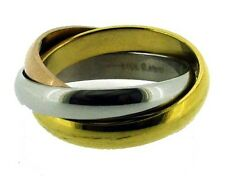 Silver-Gold-Rose Triple Tone Stainless Steel Wedding Three-Band Ring 6 - 12