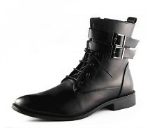 Winter Men's  Lace Up Ankle Boots Belt Buckle Casual Strap Point Toe Shoes Sz