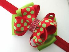 Girls Christmas Grinch Glitter Dots Boutique Rhinestone Hair Bow Headband Clip