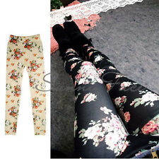 Lady Women Cotton Floral Patterned Printed Slim Pants Trousers Stretch