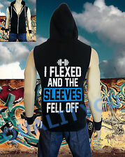 Men's I Flexed and the Sleeves Fell Off Vest Zipper Hoodie Tank Top Gym Workout