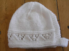 Brand New Hand Knitted White Baby Bonnet 0-3 / 3-6 / 6-9 Months