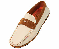 Amali Mens Penny Loafer in Beige with Microfiber Trim: Style 1418 Beige-008