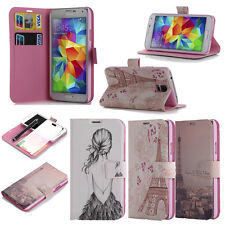 CUTE PU LEATHER CARD WALLET POUCH STAND CASE COVER FOR SAMSUNG GALAXY S5 I9600