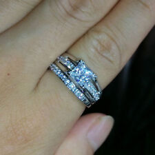 Women 18KT White Gold Filled Princess Cut AAA CZ Wedding Ring Set Size6,7,8,9,10