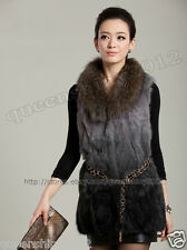 NEW100% Real Genuine Rabbit Fur Long Vest Gilet Waistcoat Raccoon Collar Fashion