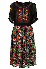 Topshop Embroidered Floral Midi Dress Folk Mexican Boho 6 8 10 14 34 36 38 42