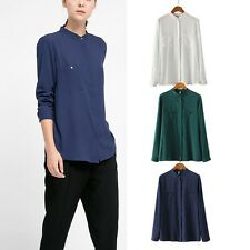 New Womens Casual Pockets Long Sleeve Soft Shirt  Blouse Tops Sz S M L 3 Colors