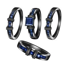3.2Ct Blue Sapphire 4 Four TRIO Matching Wedding His & Her Ring Band Set AZ SIZE