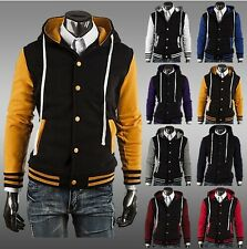 US Seller Men Letterman Varsity Hoodie Jacket College Baseball Casual Coat PK56