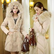 Women's Winter Fur Collar Down Cotton Jacket Hooded Parka Coat Warm Outerwear
