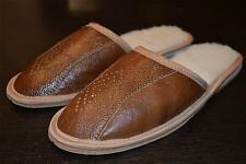 Mens Natutral Leather Slippers Shoes Sandal Handmade Tan Sheep Wool From Poland