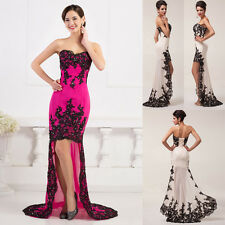 Lady Lace Applique High-Low Cocktail Wedding Party Gown Prom Bride Evening Dress
