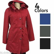 NEW Kristen Blake Women Red Gray Dry-Tex Detachable Hood Rain Coat Jacket M L