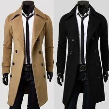 New Men's Trench Coat Winter Mens Long Double Breasted Jacket Overcoat Outwear