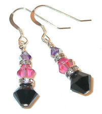 TANZANITE Purple ROSE Pink JET Black Crystal Earrings Sterling Swarovski Element