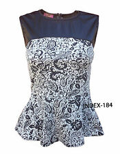 LADIES WOMENS PAISLEY PRINT BLACK PVC PANEL DETAIL PEPLUM SKATER VEST TOP