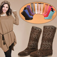 Summer Womens Chic Knitting Hollow Fashion High Boots Shoes STG
