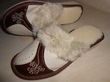 Ladies Womens Genuine Leather Slippers Shoes Sandal Sheep Wool Made In Poland