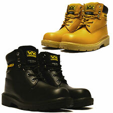 Mens Leather Waterproof Hiker Safety Steel Toe Cap Work Ankle Boots Shoes Size