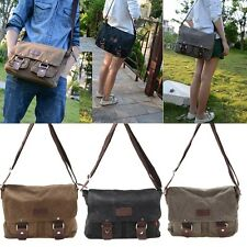 Men's Vintage Canvas Leather Satchel Military Cross Body Shoulder Messenger Bag
