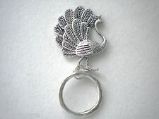 MAGNETIC or PIN ID Name Badge Holder OR Handy Reading/Sun Glasses Holder.Peacock