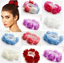Flower Bun Garland Floral Head Knot Hair Top Scrunchie Band Elastic Bridal  DIUS