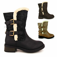 WOMENS LADIES LOW BLOCK HEEL FUR LINED WINTER SNOW CALF SHOES BIKER BOOTS SIZE