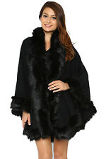 Pynk Nylon Winter Babe Rabbit Faux Fur Poncho Cape Wrap Shawl Outerwear