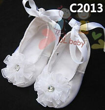 Toddlers kids Baby Girl Christening Ballet baby White Lace Girl shoes gem 0-18m