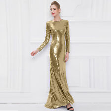 New Gold sequin dress Long sleeve formal evening cocktail party prom Maxi dress