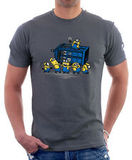 Minions Dr Who TARDIS time lord doctor printed charcoal cotton t-shirt hg9756
