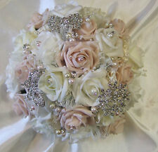 Pale mocha pink and ivory rose wedding bouquet, brooches, diamante package