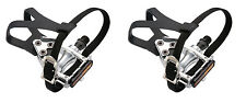 ROAD / FIXIE / MTB CYCLE PEDALS WITH TOE CLIPS & STRAPS,  Alloy or Resin pedal