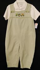 Petit Ami  4723  Two Pc Olive Checked Longall w Green Tractor. Boys  3T_