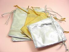 10/ 20 /40 Silver or Gold ORGANZA Party Wedding Gift POUCH BAGS ~7x9cm  9x12cm~
