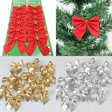 12PCS Christmas Tree Bow Decoration Merry XMAS Garden Party Bows Ornament