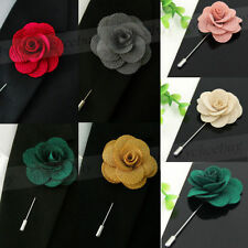 1X New Silk Blend Lapel Flower Handmade Boutonniere Stick Pin Men's Accessories